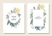花の結婚式の招待カード テンプレート デザイン、水仙、ネモフィラ、ビンテージ スタイルの白い背景に円と四角形のフレームを持つ葉の花束