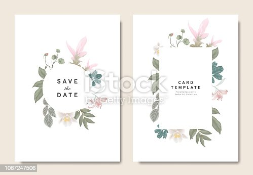 Floral wedding invitation card template design, bouquets of pink Curcuma alismatifolia, orchid, lily, Tropaeolum and leaves with circle and rectangle frames on white background, vintage style