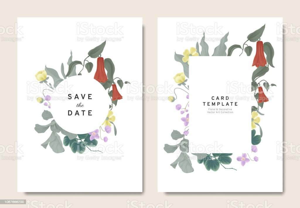 Wedding Invitation Design.Floral Wedding Invitation Card Template Design Bouquets Of Red Lapageria Rosea Purple Thalictrum Delavayi Wildflowers And Leaves With Circle And