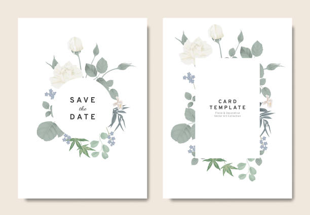 royalty free wedding invitaion or card design with exotic tropical