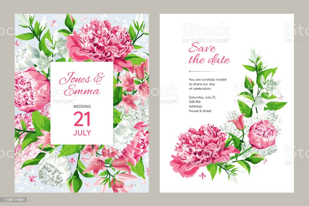 Floral Wedding Invitation Card Template Design Light Lilies