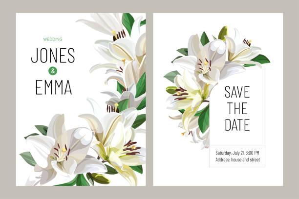 Floral wedding invitation card template design. Light Lilies on white background. vector art illustration