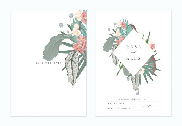 Floral Wedding Invitation Card Template Design Pink Japanese