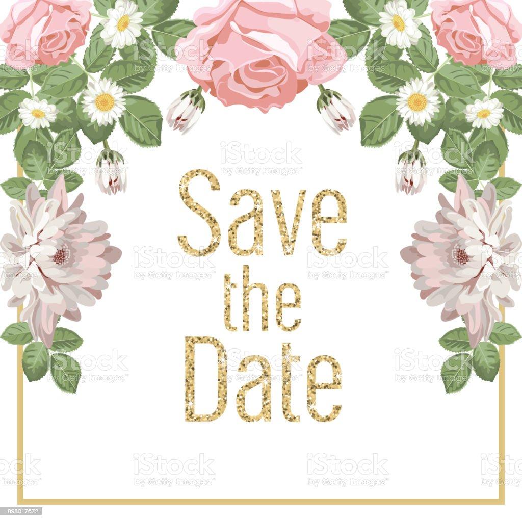 Blumen Hochzeit Einladung Kartenvorlage Mit Text. Lizenzfreies Blumen  Hochzeit Einladung Kartenvorlage Mit Text Stock Vektor