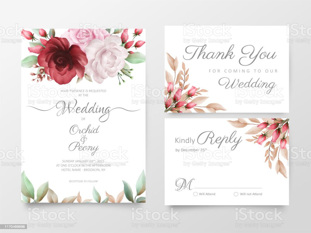 Floral Wedding Invitation Cards Template Set With Watercolor