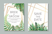 Set of two cards with golden frame and lines with green fern leaves on a white background.