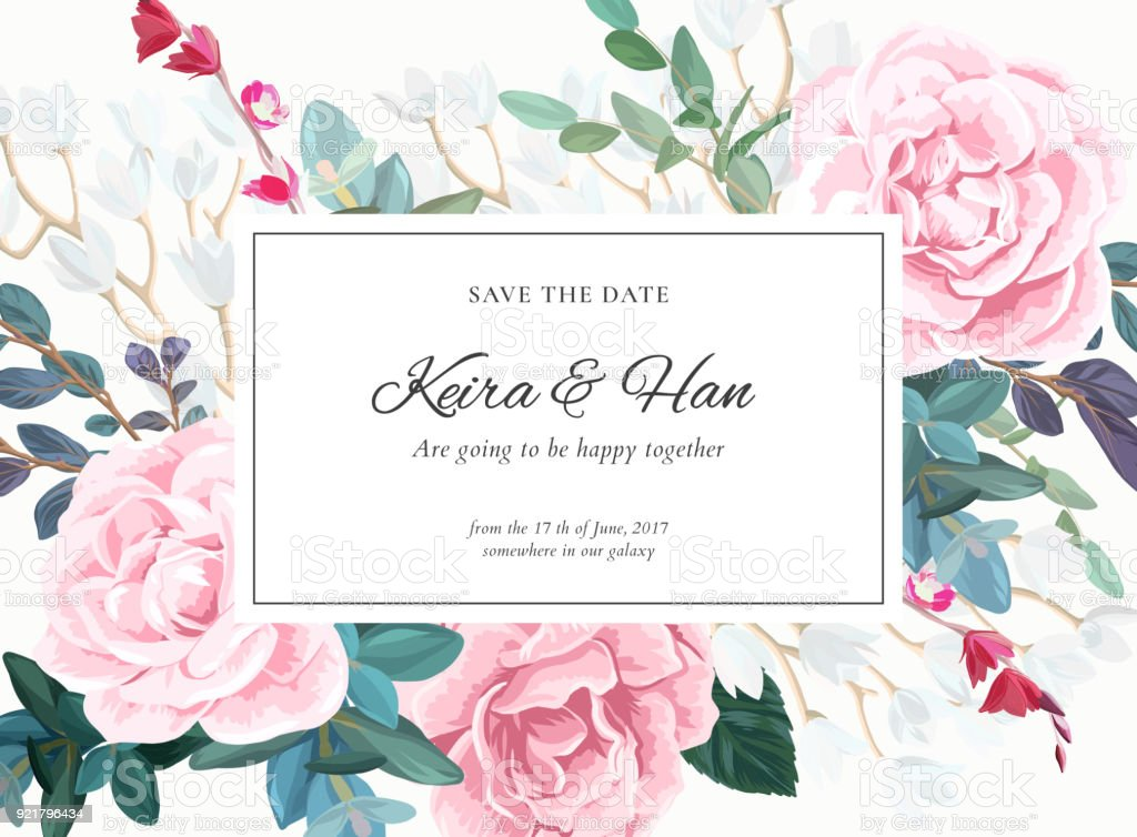 Floral wedding invitation design with pale pink roses on the white floral wedding invitation design with pale pink roses on the white background romantic vector design stopboris Image collections