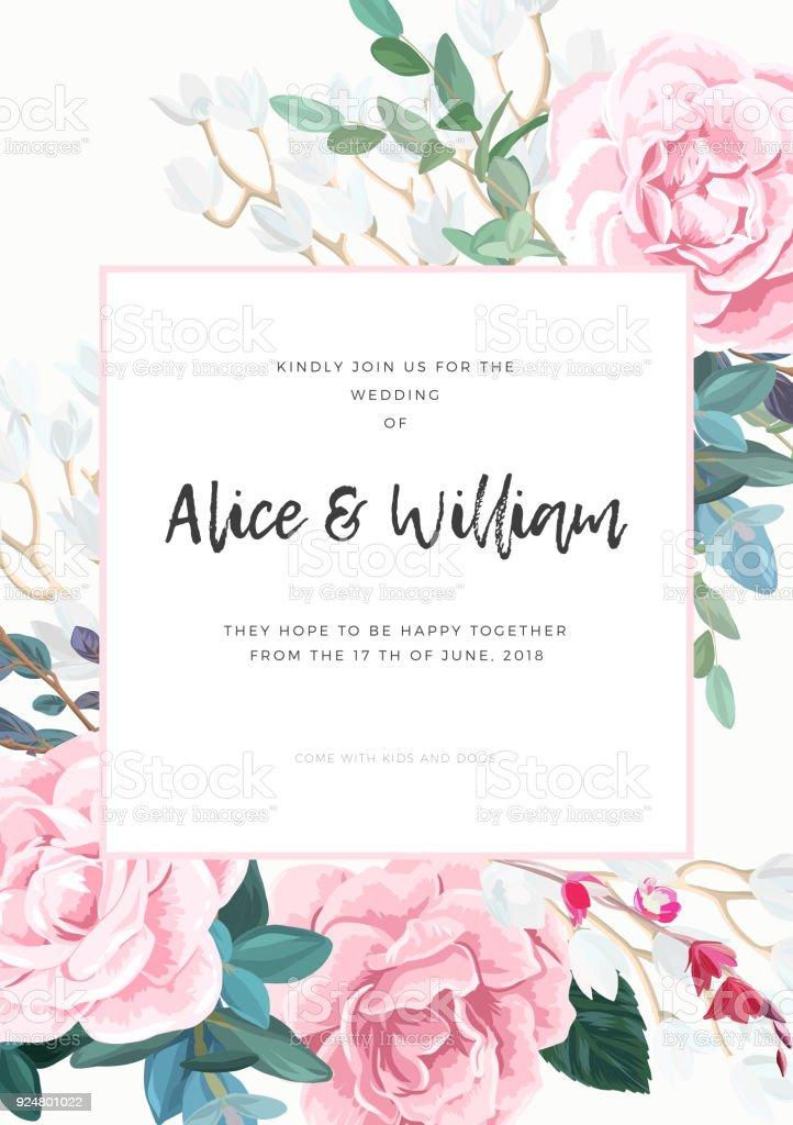 Floral wedding invitation design with pale pink roses on the white floral wedding invitation design with pale pink roses on the white background romantic and elegant stopboris Gallery
