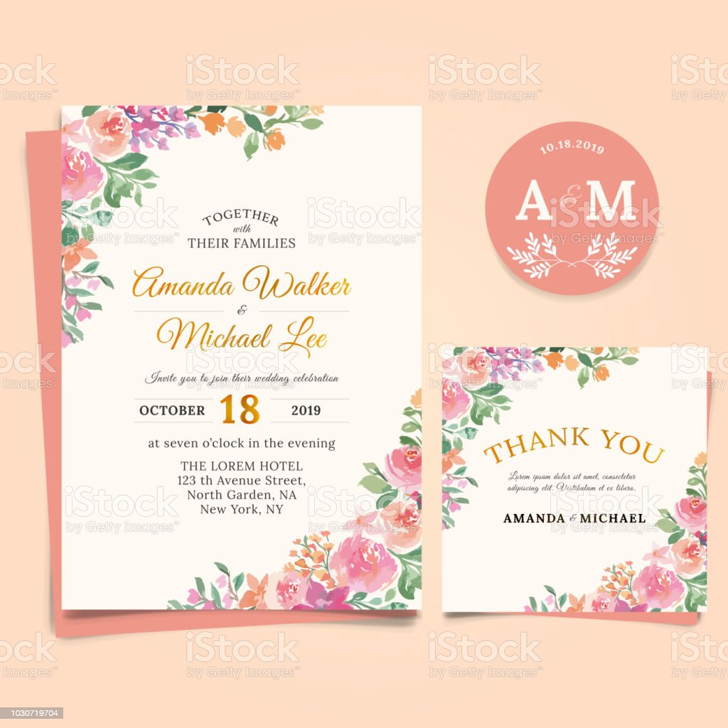 Floral Wedding Invitation Elegant Thank You Card Design Watercolor Style  Stock Illustration - Download Image Now - iStock