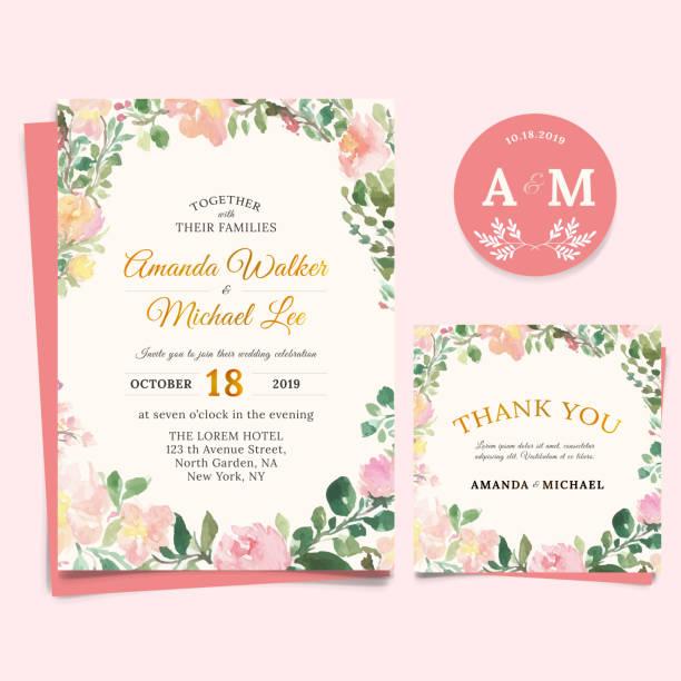 花結婚式招待状エレガントなありがとうカード デザイン、水彩風 - 花束点のイラスト素材/クリップアート素材/マンガ素材/アイコン素材