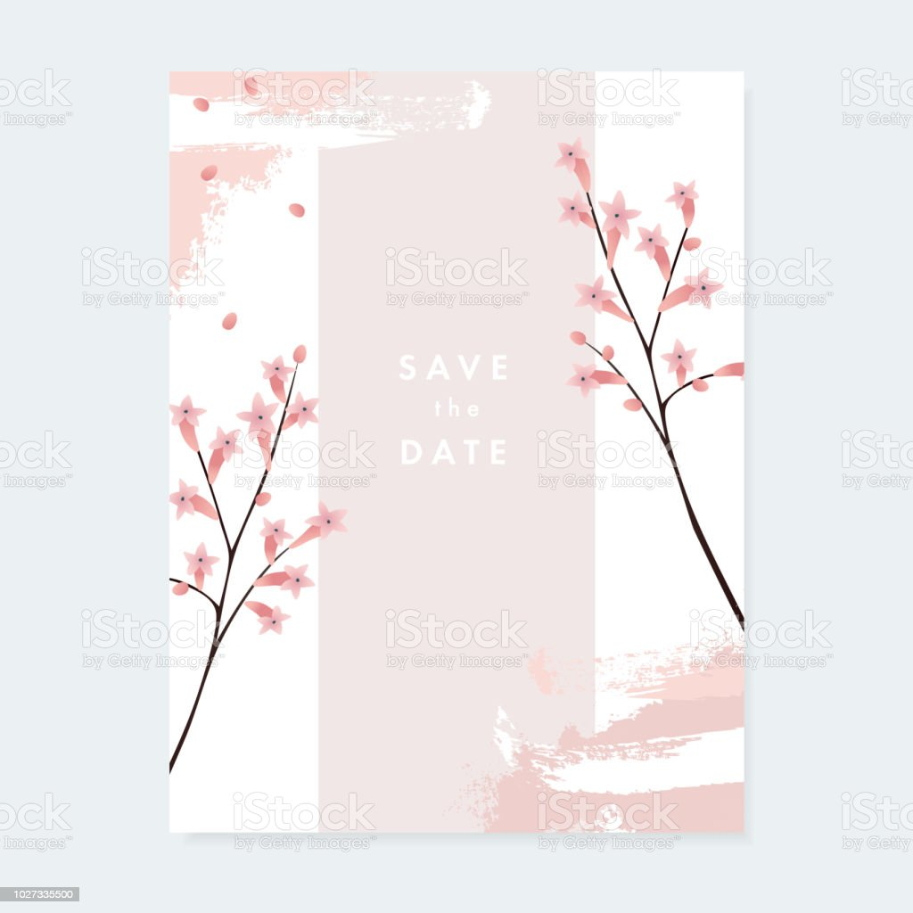 Floral Wedding Invitation Greeting Card With Pale Pink Blooming