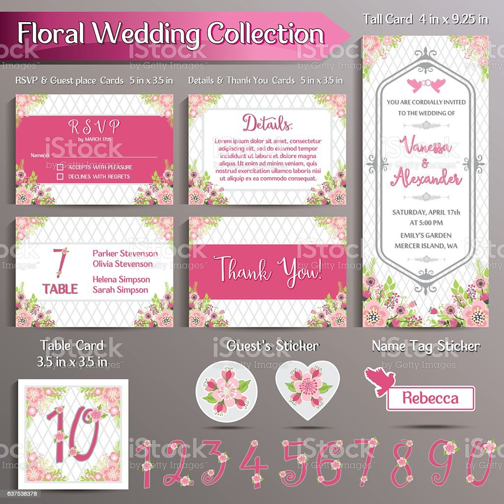 Floral Wedding Invitation set. US format vector art illustration