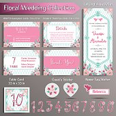 Floral Wedding Invitation set. US format