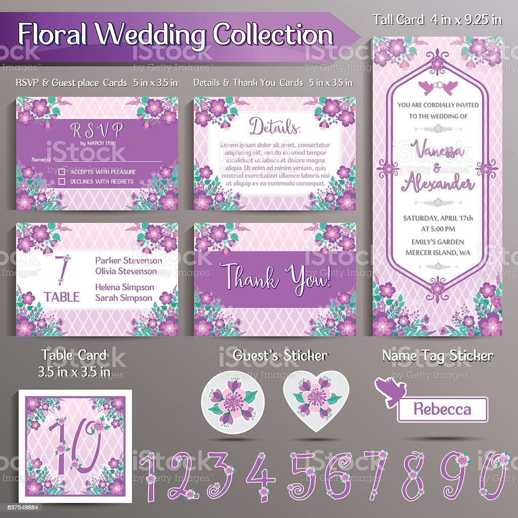 Floral Wedding Invitation set. US format vector art illustration