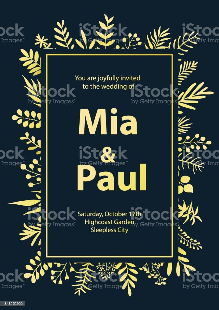 floral wedding invitation template framebackground in gold and navy blue colors vector art illustration