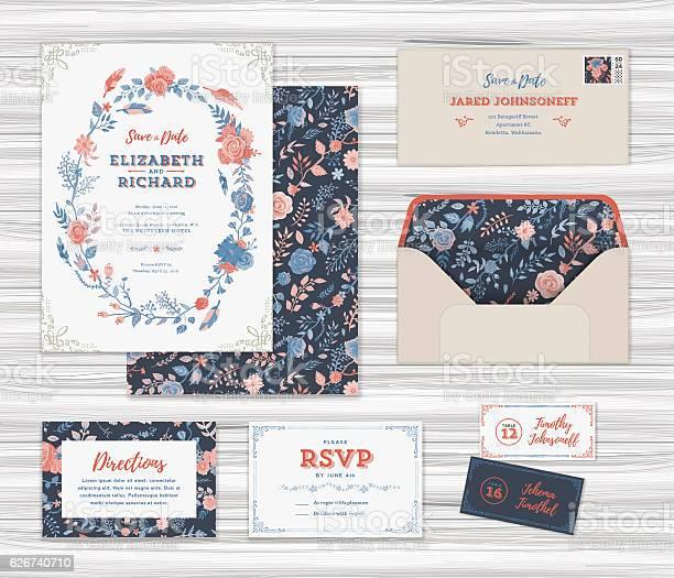 Floral wedding invitation template set vector id626740710?b=1&k=6&m=626740710&s=612x612&h=sisxqucmizljj6ihlqg3e4rxblv8u u3vjruq1rlzau=