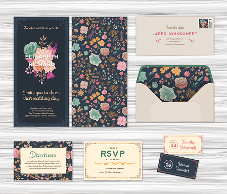 Floral Wedding Invitation Template Set