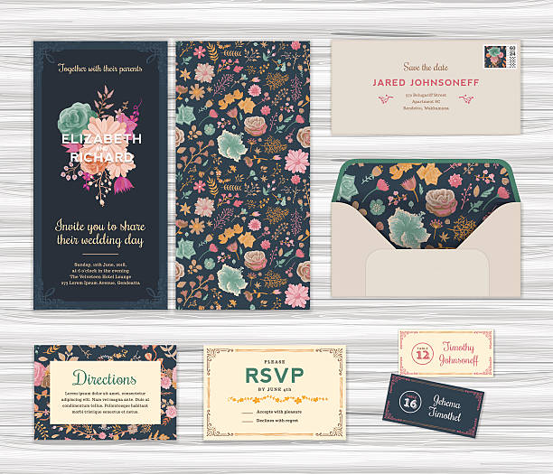 Floral Wedding Invitation Template Set - ilustración de arte vectorial