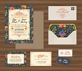 A complete set of wedding collaterals, including an invitation, envelope, RSVP cards, table markers and a patterned background. EPS 10 file, layered & grouped for easy editing.