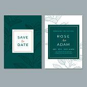 Floral Wedding Invitation Template Vector Illustration