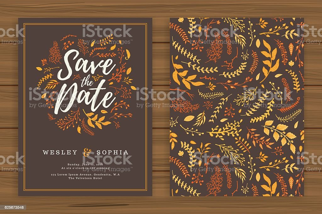 Floral Wedding Invitation Template - illustrazione arte vettoriale