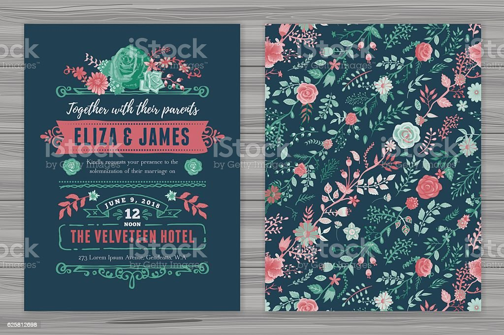 Floral Wedding Invitation Template – Vektorgrafik