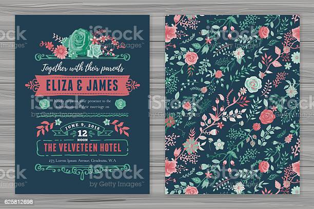Floral Wedding Invitation Template Stock Illustration - Download Image Now