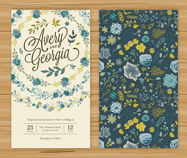 bildbanksillustrationer, clip art samt tecknat material och ikoner med floral wedding invitation template - blue yellow band