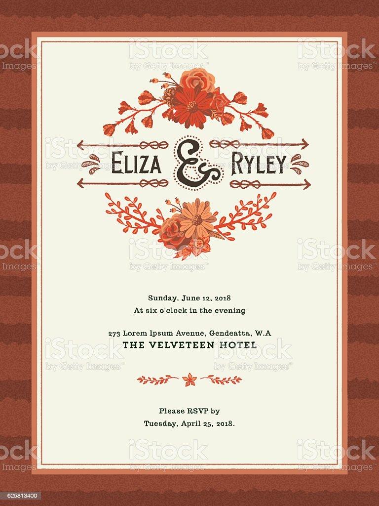 Floral Wedding Invitation Template Stock Vektor Art und mehr Bilder von Ast  - Pflanzenbestandteil