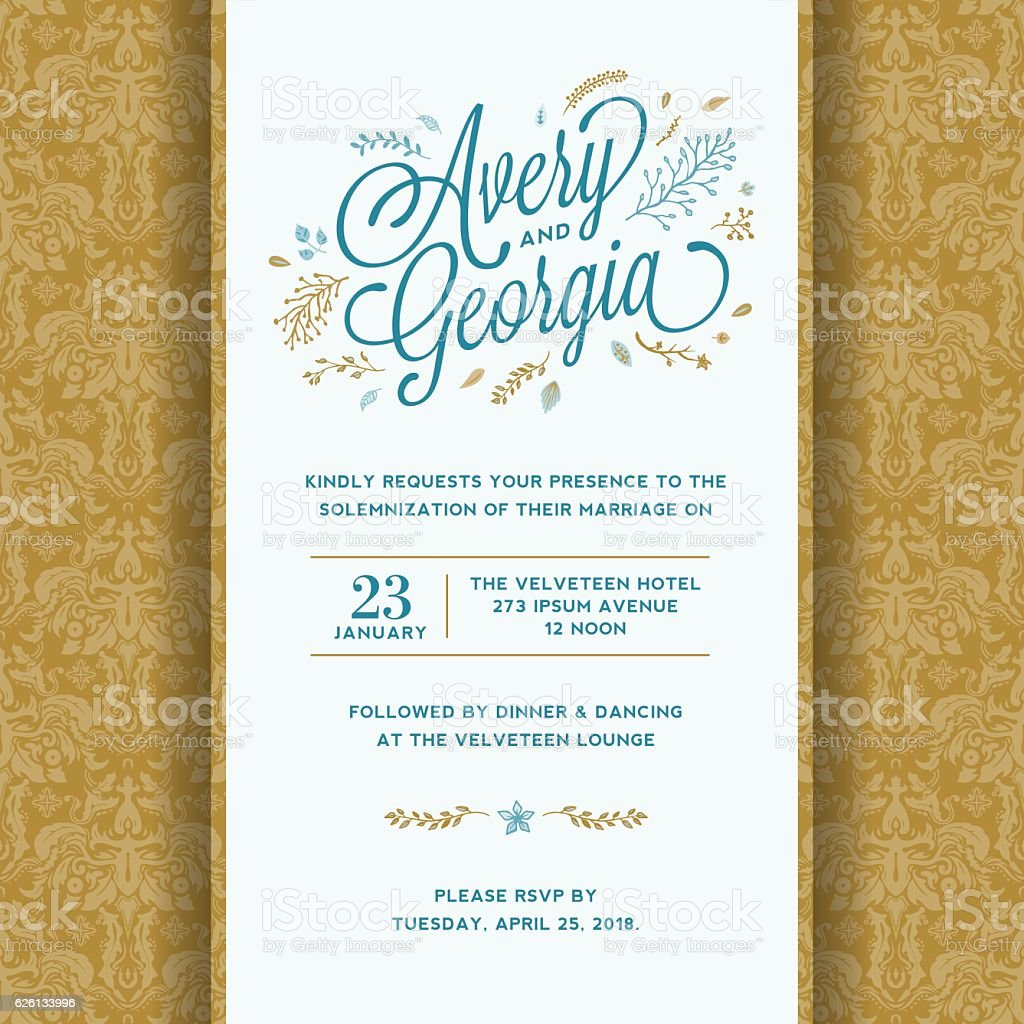 floral wedding invitation template stock vector art more images of