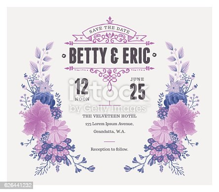 istock Floral Wedding Invitation Template 626441232