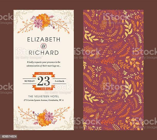 Floral wedding invitation template vector id626574524?b=1&k=6&m=626574524&s=612x612&h=yiyfbdicr8y1ccakp3kkctysfu0dl7lpmf71svfvkrk=