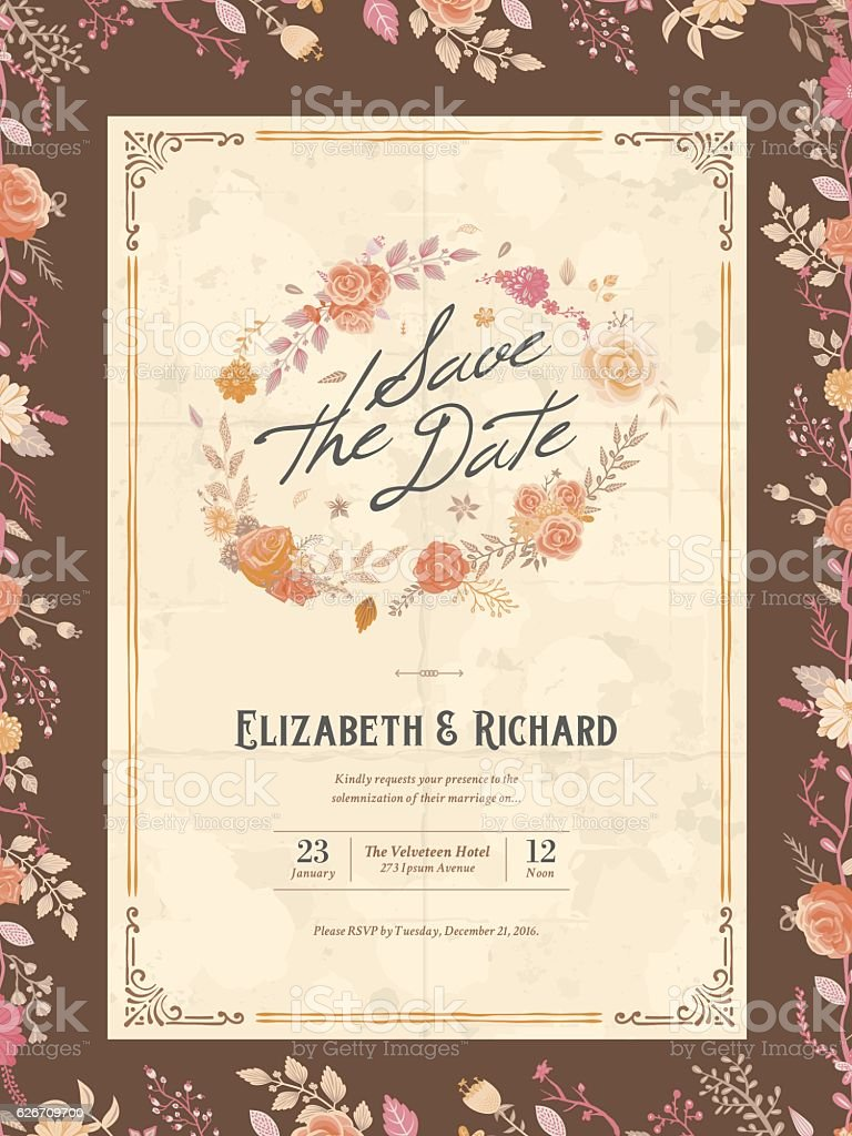 Floral Wedding Invitation Template Stock Vecteur Libres De Droits