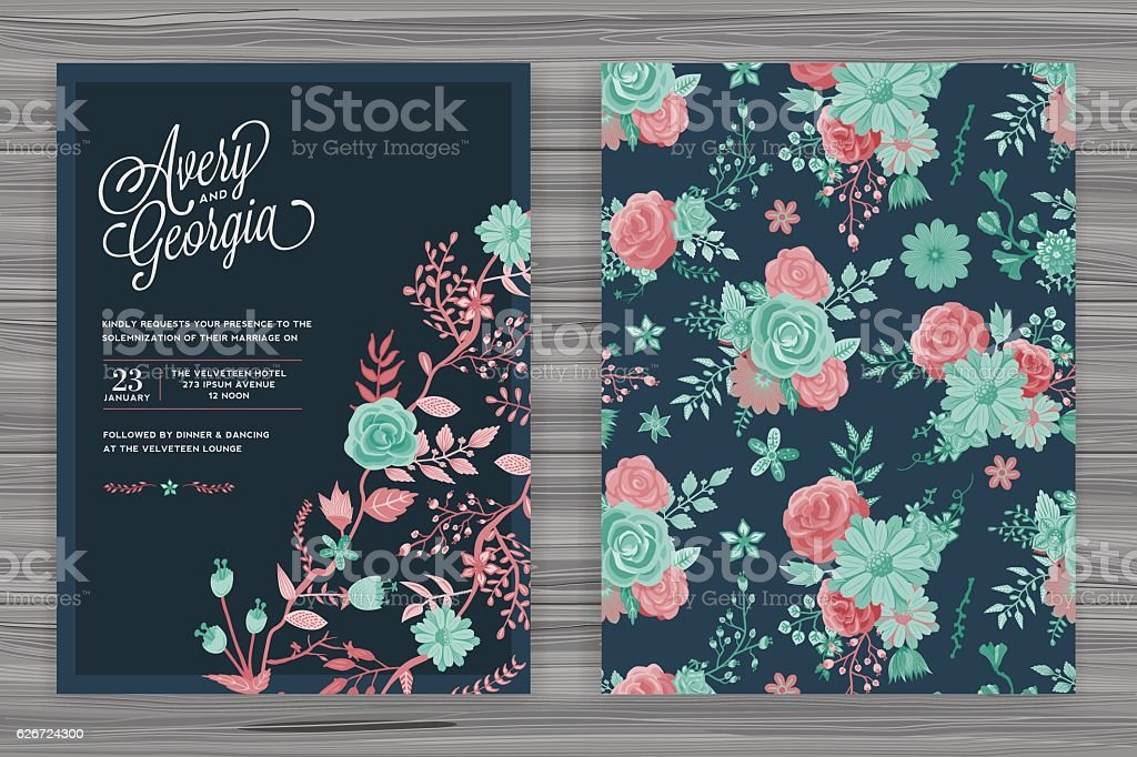 Floral Wedding Invitation Template royalty-free floral wedding invitation template stock vector art & more images of backgrounds