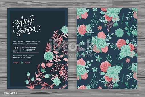 istock Floral Wedding Invitation Template 626724300