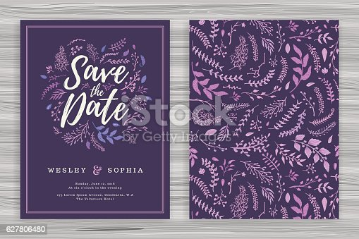 istock Floral Wedding Invitation Template 627806480