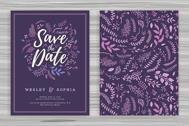 Floral Wedding Invitation Template - ilustración de arte vectorial