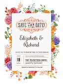 A wedding invitation template adorned with floral elements. EPS 10 file, layered & grouped for easy editing.