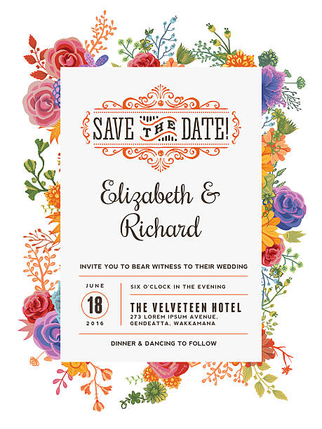 floral wedding invitation template - floral borders stock illustrations, clip art, cartoons, & icons