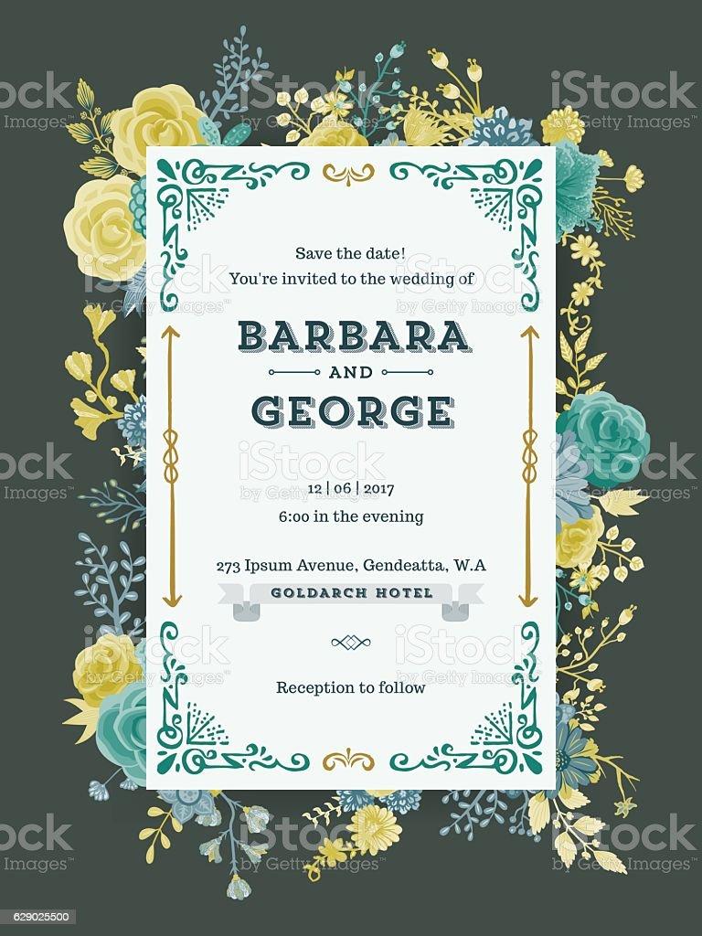 Floral Wedding Invitation Template Stock Illustration - Download ...
