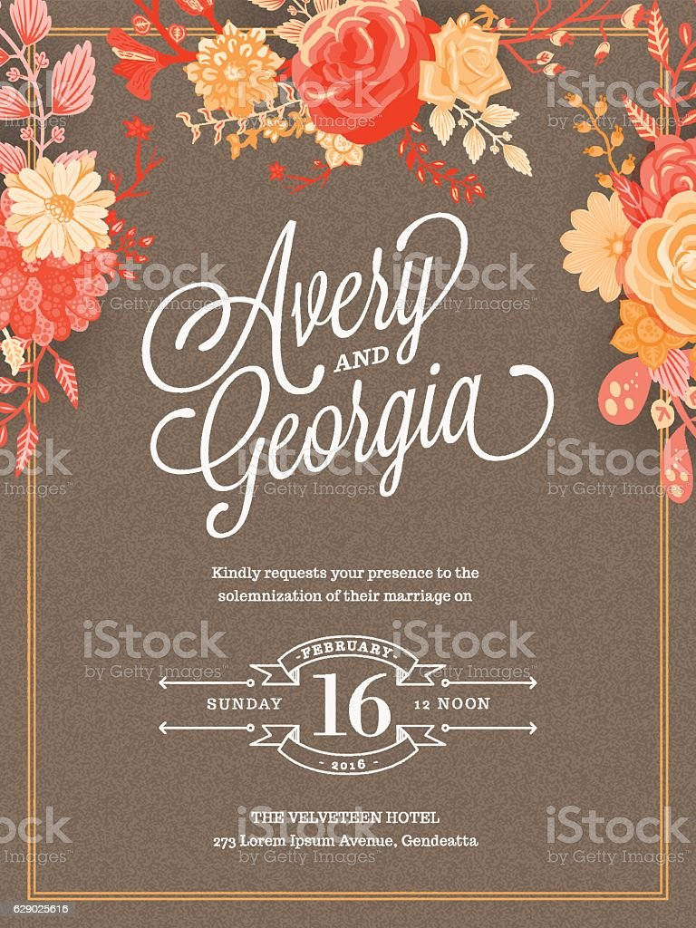 floral wedding invitation template お祝いのベクターアート素材や