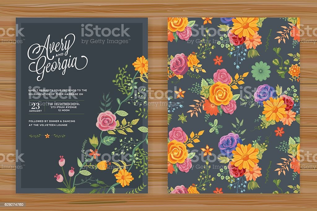 Floral Wedding Invitation Template - Royalty-free Backgrounds stock vector