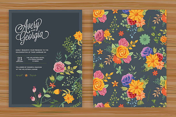floral wedding invitation template - wedding backgrounds stock illustrations, clip art, cartoons, & icons
