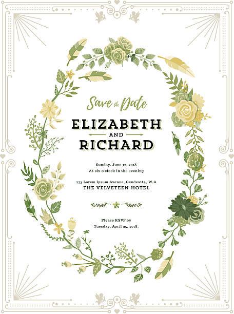 floral wedding invitation template - 結婚式点のイラスト素材/クリップアート素材/マンガ素材/アイコン素材