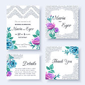 Set of floral wedding invitation with flowers blue and lilac roses and openwork lace. Vector illustration.