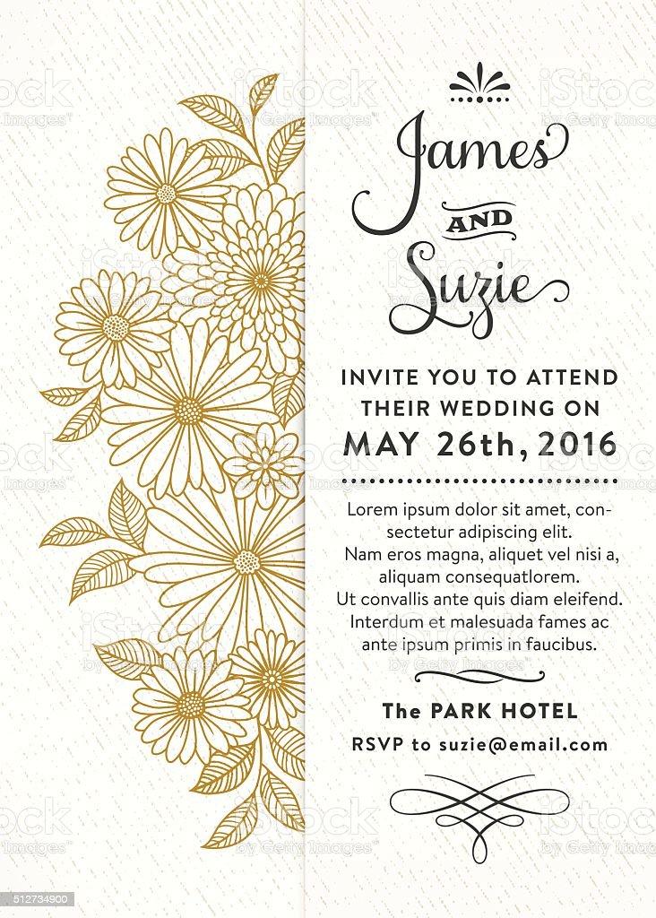 Floral Wedding Invitation vector art illustration