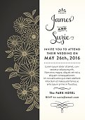 Invitation with line art flowers in black and gold.File is layered with global colors.Hi res jpeg without text included.More works like this linked below.