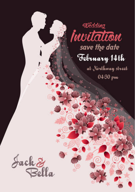 floral wedding invitation floral wedding invitation , greeting card anniversary silhouettes stock illustrations