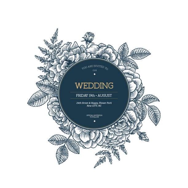 floral wedding invitation. vintage flower greeting card. vector illustration - wedding invitation stock illustrations, clip art, cartoons, & icons