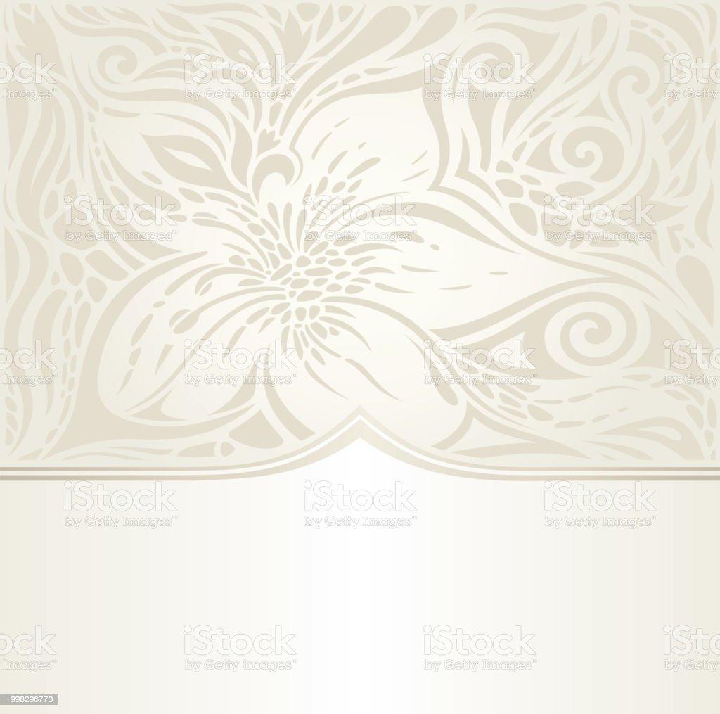 Floral Wedding Invitation Wallpaper Bridal Design In Ecru Stock ...